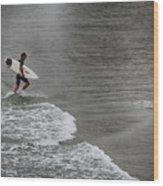 Leaving The Surf Wood Print