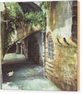 Lebanese Watercolors Jewsish Zone Saida Wood Print
