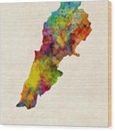 Lebanon Watercolor Map Wood Print