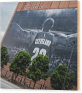 Lebron James Banner Wood Print