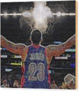 Lebron James Chalk Toss Basketball Art Landscape Painting Wood Print