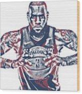 Lebron James Cleveland Cavaliers Pixel Art 54 Wood Print