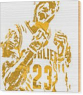 Lebron James Cleveland Cavaliers Pixel Art 9 Wood Print