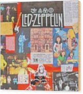Led Zeppelin Color Collage Wood Print
