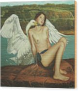 Leda And The Swan - Passionate Wood Print