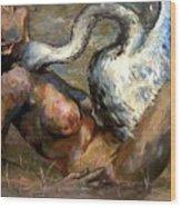 Leda And The Swan Wood Print