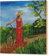 Ledy With The Bike Wood Print