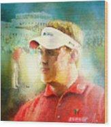 Lee Westwood Winning The Portugal Masters 2009 Wood Print