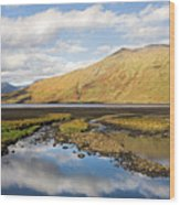 Leenane Reflection Irish Landscape Wood Print