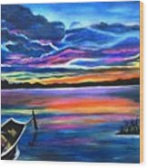 Left Alone A Seascape Boat Painting At Sunset  Wood Print