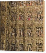 Left Half - The Golden Retablo Mayor - Cathedral Of Seville - Seville Spain Wood Print
