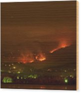 Lefthand Canyon Wildfire Night Time View Wood Print