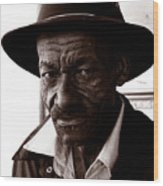 Legendary Bluesman And Folk Artist James Son Thomas Wood Print