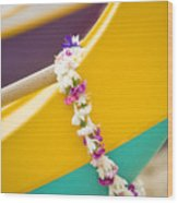 Lei Draped Over Outrigger Wood Print by Dana Edmunds - Printscapes