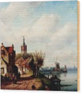 Leickert Charles A Village Along A River A Town In The Distance Wood Print