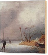 Leickert Charles A Winter Landscape With Skaters On A Frozen Waterway Wood Print