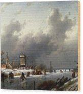 Leickert Charles Henri Joseph A Frozen Winter Landscape With Skaters Wood Print