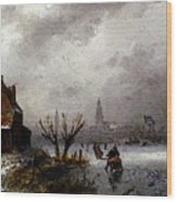 Leickert Charles Henri Joseph Figures On A Frozen Lake Wood Print