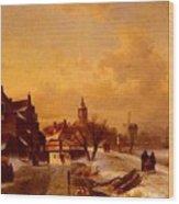 Leickert Charles Henri Joseph Winter And Summer Canal Scenes Scene  Wood Print