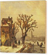 Leickert Charles Skaters In A Frozen Winter Landscape Wood Print