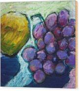 Lemon And Grapes Wood Print