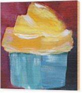 Lemon Cupcake- Art By Linda Woods Wood Print