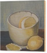 Lemon In A Bowl Wood Print