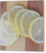 Lemon Slices On Cutting Board Wood Print