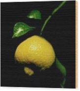 Lemon With Leaves Wood Print