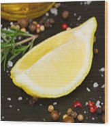 Lemon With Spices  Wood Print