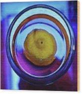Lemonade In Blue Wood Print