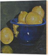 Lemons And Blue Bowl IIi Wood Print