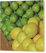Lemons And Limes At Market Wood Print