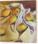 Lemons And Linen Wood Print