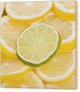 Lemons And One Lime Abstract Wood Print