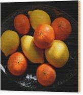 Lemons And Oranges On A Platter Wood Print