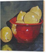Lemons And Red Bowl IIi Wood Print