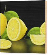 Lemons-black Wood Print