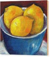 Lemons In A Blue Bowl Grace Venditti Montreal Art Wood Print