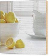 Lemons In Large Bowl On Table Wood Print
