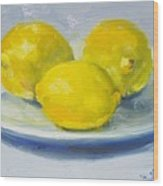 Lemons On A White Plate Wood Print