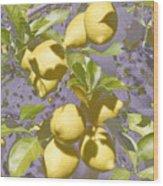 Lemons Purple Pastel Wood Print