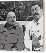Lenin And Stalin Circa 1923 Color And Drawing Added 2016    Wood Print