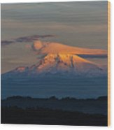 Lenticular Clouds Over Mount Hood Wood Print