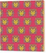 Leo Zodiac Sign Pattern Wood Print