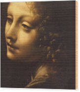 Leonardo- Angel From The Madonna Of The Rocks Wood Print