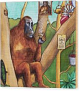 Leonardo The Orangutan Wood Print
