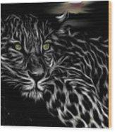 Leopard At Night Wood Print
