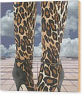 Leopard Boots With Ankle Straps Wood Print