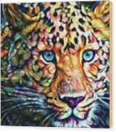 Leopard Cat Flowers Wood Print